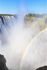 Preview iPhone wallpaper Victoria Waterfalls, Africa, rainbow, mist