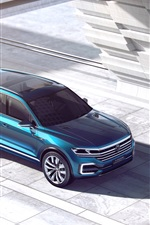 Preview iPhone wallpaper Volkswagen T-Prime GTE concept blue SUV top view