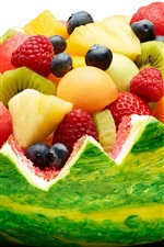Preview iPhone wallpaper Watermelon basket, berries, strawberries, kiwi, fruit dessert