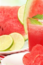 Preview iPhone wallpaper Watermelon, slices, juice, love hearts, summer drinks