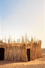 Preview iPhone wallpaper Western Sahara Desert, Morocco, desert, reeds hut, sun, hot