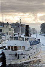 Winter, river, boats, snow, houses, Uppsala, Sweden