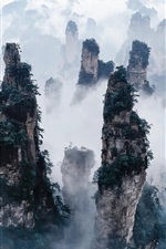 Preview iPhone wallpaper Zhangjiajie National Forest Park, China, cliffs, mountains, fog