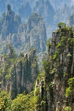 Preview iPhone wallpaper Zhangjiajie beautiful natural scenery, rocky mountain cliffs, China