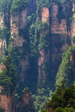 Preview iPhone wallpaper Zhangjiajie nature landscape, China, cliffs, mountains, sightseeing elevator