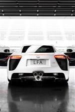 Preview iPhone wallpaper 2012 Lexus LFA white car rear view, wings