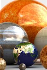 bolas 3D, planetas, terra, colorido