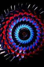 Preview iPhone wallpaper Abstract pattern, spiral, colorful, black background