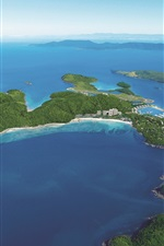 Preview iPhone wallpaper Aerial to view Hamilton Island, blue sea, Australia