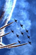 Preview iPhone wallpaper Air show, festival, planes, smoke, blue sky