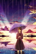 Preview iPhone wallpaper Anime girl in rain, umbrella, water, clouds, sunset