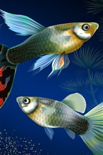 Preview iPhone wallpaper Aquarium fish at underwater, water grass, creative design