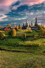 Preview iPhone wallpaper Arkhangelsk region, Russia, village, trees, grass, autumn, clouds