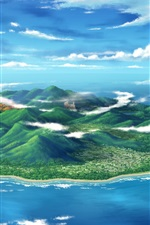 Preview iPhone wallpaper Art design, sea, island, mountain, clouds