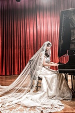 Preview iPhone wallpaper Asian girl, bride, white dress, piano, music