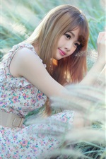 Preview iPhone wallpaper Asian girl in the grass, long hair, face, eyes, summer