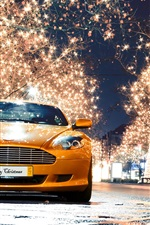 Aston Martin DB9 orange supercar front view, night, lights