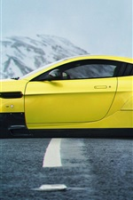 Preview iPhone wallpaper Aston Martin Vanquish yellow supercar side view