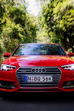 Audi A4 Sedan front view, red, speed