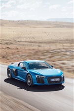 Audi R8 V10 Plus blue car high speed