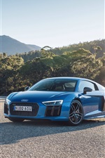 Preview iPhone wallpaper Audi R8 V10 cars, yellow and blue