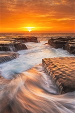 Australia nature landscape, sea, morning, rocks, sunrise