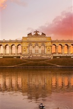 Preview iPhone wallpaper Austria Schonbrunn park, lake, red sky, sunset