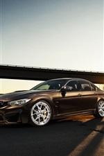 BMW M3 F80 brown car at sunset