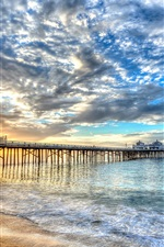 Preview iPhone wallpaper Beach, coast, sea, bridge, building, clouds, sunset