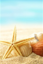 Preview iPhone wallpaper Beach, seashells, starfishes, sunshine, summer