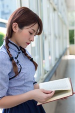 Preview iPhone wallpaper Beautiful Asian girl reading book, retro style