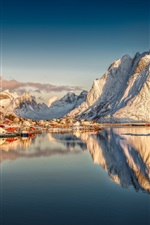 Preview iPhone wallpaper Beautiful Norway, Reine, Nordland, Lofoten archipelago, snow mountains, houses