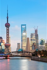 Preview iPhone wallpaper Beautiful Shanghai city view in evening