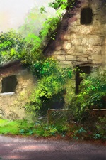 Preview iPhone wallpaper Beautiful art painting, house, trees, path, green plants