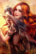 Preview iPhone wallpaper Beautiful fantasy girl, red haired, smile, dragon, fire
