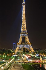 Preview iPhone wallpaper Beautiful night view, Eiffel Tower, spotlight, Paris, France