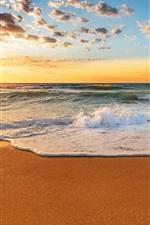 미리보기 iPhone 배경 화면 아름다운 일몰 해변, 해안, 바다, 파도, 모래, 태양