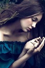 Preview iPhone wallpaper Blue dress girl sleep, ferns, bokeh