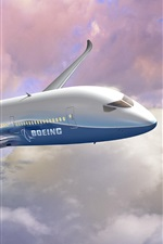 Preview iPhone wallpaper Boeing airplane flight, sky, clouds