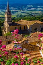 Preview iPhone wallpaper Bonnieux, France, houses, pink flowers