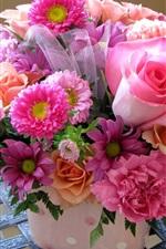 미리보기 iPhone 배경 화면 꽃다발, 핑크 꽃, 장미, 데이지, 모란