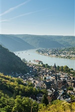 Preview iPhone wallpaper Braubach, Germany, Rhein river, Marksburg castle, town
