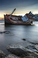 Broken ship, coast, sea, rocks, shipwreck, dusk