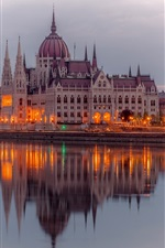 Budapest, Hungary, river Danube, Parliament buildings, lights, evening