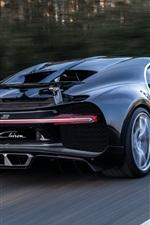 Bugatti Chiron supercar preto vista traseira