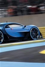 Preview iPhone wallpaper Bugatti Vision Gran Turismo, blue supercar speed