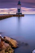 Canada, lake Ontario, Port Dalhousie, lighthouse, dawn
