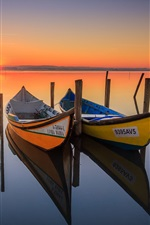 Canoagem, barcos, lago, nascer do sol, reflexão da água