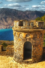 Preview iPhone wallpaper Cartagena, Spain, castle, fortress, lake, mountains