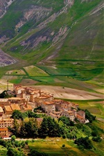 Preview iPhone wallpaper Castelluccio, Italy, village, houses, fields, mountains, slope